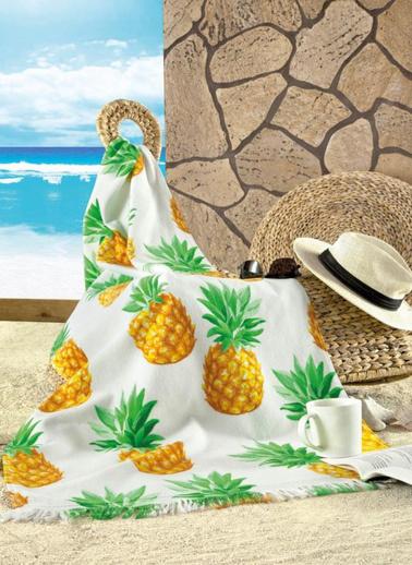 Maxstyle Kadife Plaj Havlusu Pıneapple 70X160 Renkli